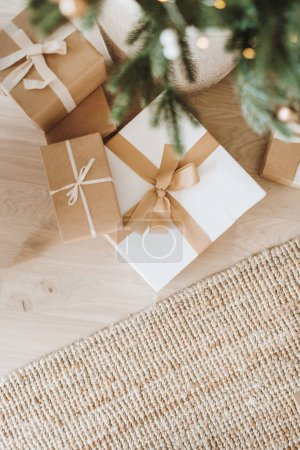 Photo for Christmas / New Year composition. Winter holidays gift boxes and fir-tree branches. - Royalty Free Image