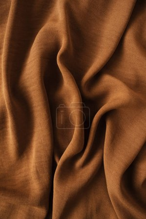 Photo for Dark brown crumpled satin textile cloth texture - Royalty Free Image
