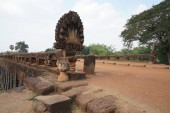 Siem Reap, Cambodia-January 12, 2019: Spean Praptos or Kampong Kdei Bridge in Cambodia used to be the longest corbeled stone-arch bridge in the world