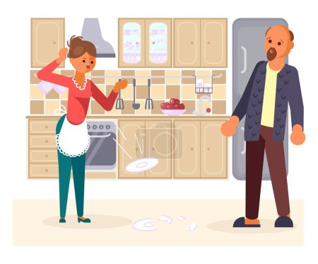 The married couple quarrels in the kitchen