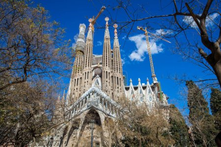 BARCELONA - MARCH, 2018: Passion Facade of the Basilica and Expiatory Church of the Holy Family