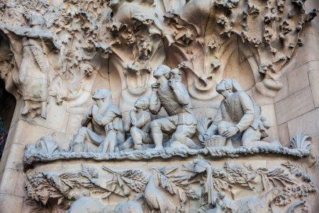 BARCELONA - MARCH, 2018: Nativity Facade of the Basilica and Expiatory Church of the Holy Family