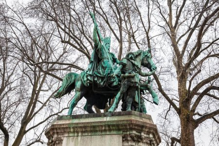PARIS, FRANCE - MARCH, 2018: Charlemagne and His Guards monument situated next to the Notre Dame Cathedral