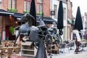 BRUGES, BELGIUM - MARCH, 2018: Statue Zeus, Leda, Prometheus and Pegasus visit Bruges donated by Jef Claerhout in honor to the city coachmen