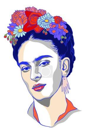 Illustration pour Magdalena Carmen Frida Kahlo portrait - image libre de droit