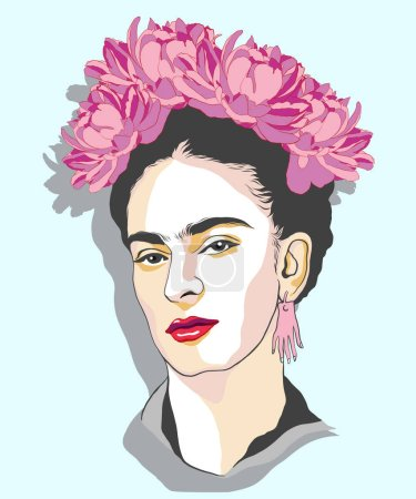 Illustration for Magdalena Carmen Frida Kahlo portrait with flowers. Magdalena Carmen Frida Kahlo y Calderon (6 July 1907  13 July 1954), usually known as Frida Kahlo, was a Mexican painter. She was married to Diego Rivera, also a well-known painter. Vector illustrat - Royalty Free Image