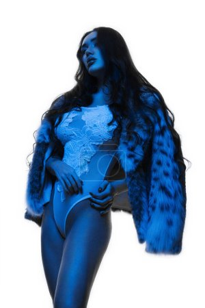 Photo for Beauty Fashion Model Girl in Mink Fur Coat Blue color. Beautiful Luxury Winter Woman - Royalty Free Image