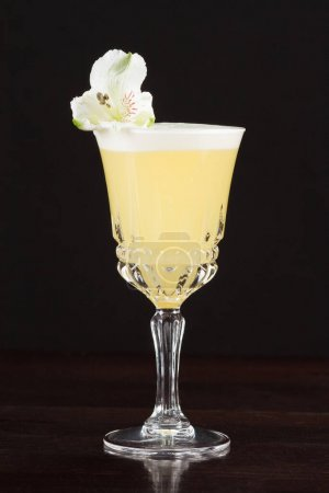 Photo for Alcohol cocktail against black background - Royalty Free Image