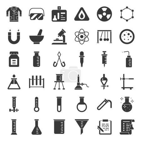 Illustration pour Équipement de laboratoire, concept d'analyse chimique, icône solide - image libre de droit