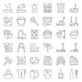 Cleaning and laundry service and equipment  icon set