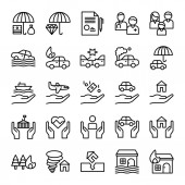 vector illustration of Insurance icons set on white background
