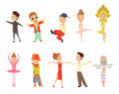 Vector cartoon illustration of little graceful girls-dancer and happy hipster boys isolated on white Set of little happy kids dancing and smiling Modern dance ballet performed by children