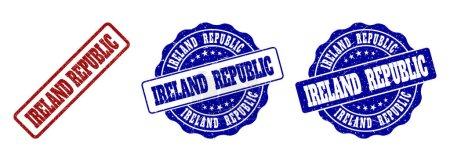 IRELAND REPUBLIC grunge stamp seals in red and blu...