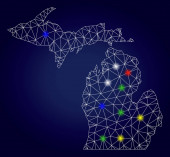 Carcass Polygonal Vector Michigan State Map with Colorful Glowing Spots