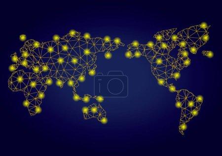 Illustration pour Carte du monde vectorielle en maille jaune avec effet éblouissant sur un fond dégradé bleu foncé. Des lignes abstraites, des taches lumineuses et de petits cercles forment une constellation de carte du monde . - image libre de droit