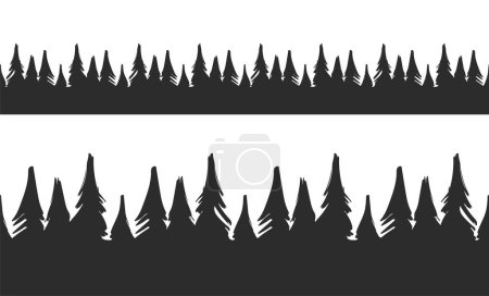 Illustration for Vector illustration: Set of Hand drawn Seamless pine forest. Christmas banner template. - Royalty Free Image