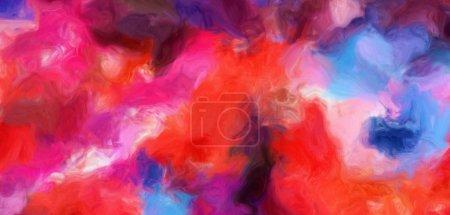 Foto de Salpicaduras de pintura sobre lienzo. Trazos de pincel suave caótica. Abstracta fondo de pintura al óleo. Textura de dibujado a mano. Moderno estilo de arte multicolor. Arte diseño gráfico. - Imagen libre de derechos