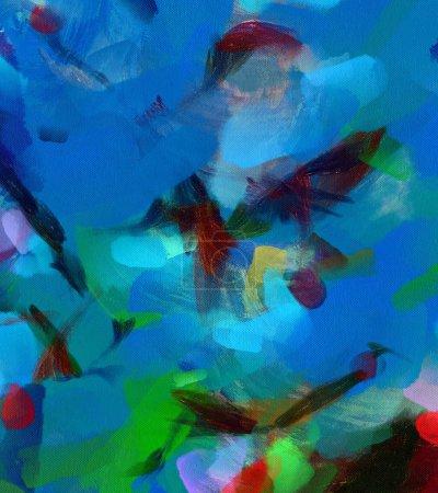 Photo pour Décor de peinture moderne mur art. Dessin abstrait. Conception graphique Design. Coups de pinceau sur la toile. Modèle artistique. Créatrice mode impression. Bon comme affiche psychédélique. Surréaliste abstraction graphique. - image libre de droit