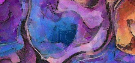 Foto de Plantilla impresión del cartel de la pared. Arte de la pintura abstracta. Mano alzada con pincel seco de textura de fondo de pintura. Estilo de pintura al óleo. Patrón artístico para web o diseño gráfico. Técnica de impresionismo moderno. - Imagen libre de derechos