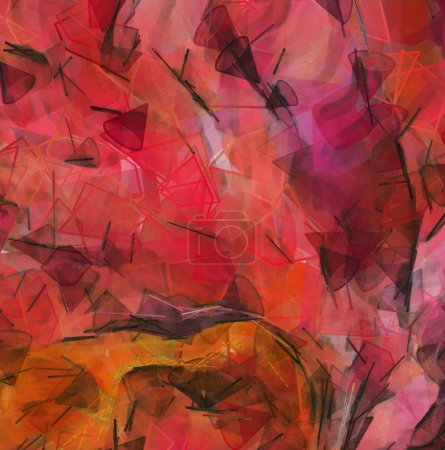 Photo for Abstract painting, Wall art, Canvas print, Oil paint, Modern drawing, Textured brushstrokes, Contemporary impressionism style, Warm fancy colors, Psychedelic design pattern, surreal fine art - Royalty Free Image