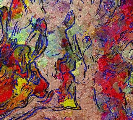 Photo pour Peinture abstraite. Art à vendre. Peinture à l'huile. Oeuvre de l'impressionnisme moderne. Art mural contemporain. Papier ou en toile imprimée. Modèle pour la création d'affiche de la conception, la production à la main. Texture d'arrière-plan. - image libre de droit
