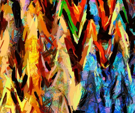 Photo for Digital art abstract pattern. Hand drawing modern style art print. Futuristic artwork. Contemporary painting wall decor. Oil on canvas. Brushstrokes of paint in warm colors. Psychedelic design. - Royalty Free Image