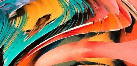 Foto de Antecedentes de la pintura al óleo en estilo impresionismo. Patron dibujado a mano para el trabajo de diseño. Plantilla para imprimir productos de decoración. Arte contemporáneo moderno. Salpicaduras de pintura. Suaves pinceladas. - Imagen libre de derechos