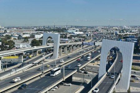 Melbourne, Australia - August 22, 2018: Traffic passes along motorway roads