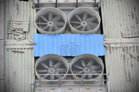 Above View of Air Conditioning Fans and Ventilation System of an Industrial Building
