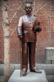 Melbourne, Australia - August 15, 2018: A statue of Dr Sun Yat Sen is seen on a street in Melbourne's Chinatown