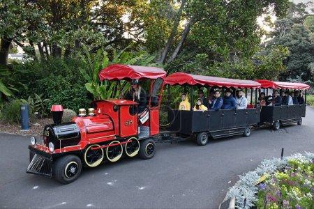 Photo for Sydney, Australia - August 12, 2019: A tourist train runs through Royal Botanic Gardens. - Royalty Free Image