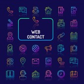 Web & Internet Contact Gradient Line Icon Set