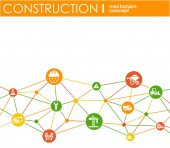 Construction network Hexagon abstract background with lines polygons and integrated flat icons Connected symbols for build industry architectural engineering concepts Vector