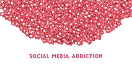 Social media addiction. Social media icons in abstract shape background with counter, comment and fr