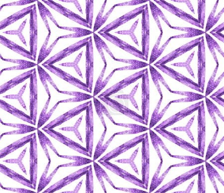 Purple tropical seamless pattern. Hand drawn watercolor ornament. Mesmeric repeating tile. Artistic fabric cloth, swimwear design, wallpaper, wrapping.