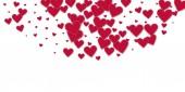 Red heart love confettis Valentine's day semicirc