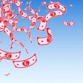 British pound notes falling Messy GBP bills on bl