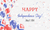 Norway Independence Day Greeting Card Flying Balloons in Norway National Colors Happy Independence Day Norway Vector Illustration
