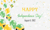 Jamaica Independence Day Greeting Card Flying Balloons in Jamaica National Colors Happy Independence Day Jamaica Vector Illustration
