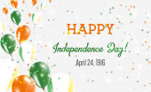 Ireland Independence Day Greeting Card Flying Balloons in Ireland National Colors Happy Independence Day Ireland Vector Illustration