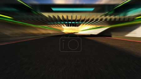Go forward motion blurred modern racetrack with bridge and sunset background .