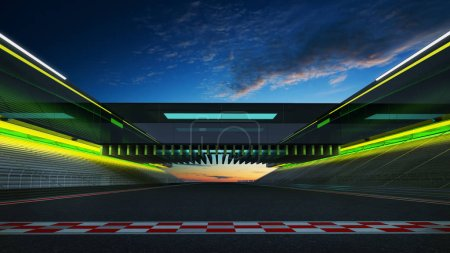 Low angle side view empty asphalt international race track with start and finish line.  3d rendering