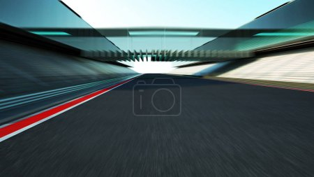 Photo for Side view motion blur empty asphalt international race track with modern glass facade bridge. - Royalty Free Image