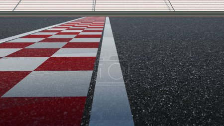 Photo for Low angle side view empty asphalt international race track with start and finish line.  3d rendering - Royalty Free Image