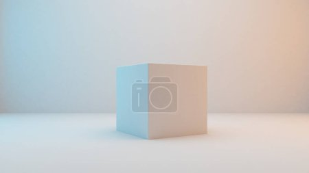 Milky white cube isolated on white background with slightly blue and orange lighting . 3D Rendering
