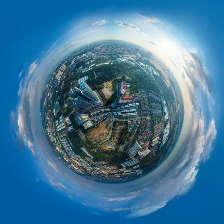 Panorama 360 degree sphere view of cityscape with sky .