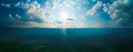 Dramatic seascape with wide horizon of the sky and the sea. Panorama big field view .