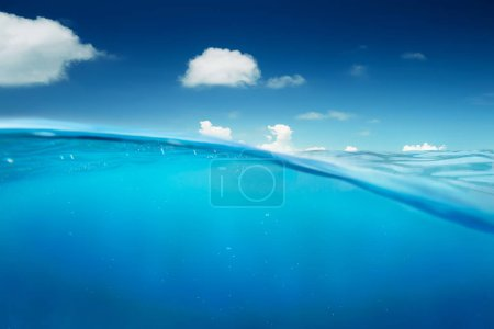 Ocean half angle view water with sky