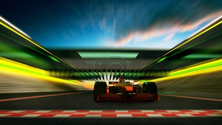 Sport racing car driver pass the finishing line achieve the champion dreame , motion blur and lighting effect apply . 3D rendering and mixed media composition .