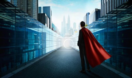 Photo for Ambitions concept with hero businessman standing and looking from alley to modern city - Royalty Free Image